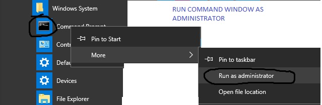 Screenshot of Command Window Run as Administrator