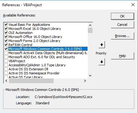 Visual Basic IDE references showing mscomct2.ocx highlighted and registered