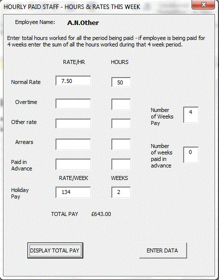 Visual Basic UserForm for input of employee working hours